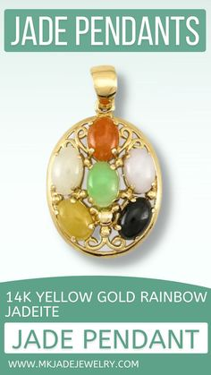 Six multi-color jade oval cabochons set in an oval 14K yellow gold pendant. Use discount code INSTA10JORDAN at checkout! Jade Pendant, Pendant Jewelry, Christmas Bulbs, Unique Gifts, Pendants, Rainbow, Jewels, Yellow, Holiday Decor