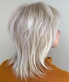 Silver Feathered Shag For Fine Hair Medium Shag Haircuts, Short Shag Hairstyles, Haircuts For Fine Hair, Layered Haircuts, Feathered Hairstyles, Popular Hairstyles, Haircut Medium, Hairstyles Men, Boy Haircuts