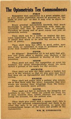 Wm. M. Updengrave's Optometrist Advertisements – Optometrists Ten Commandments