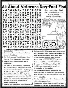 Veteran's Day word search and other activities! | Crafts and Fun ...