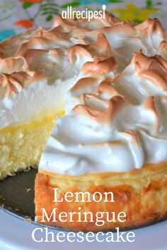 Love lemon meringue pie and cheesecake? Well this is the best of both worlds. Gr… Love lemon meringue pie and cheesecake? Well this is the best of both worlds. Great any time of year and sure to impress your guests. Lemon Desserts, Lemon Recipes, Just Desserts, Delicious Desserts, Yummy Food, Meringue Desserts, Tasty, Cheese Recipes, Healthy Desserts