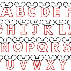 Letters with mickey mouse ears applique designs 4x4 and 5x7 hoop digital instant download