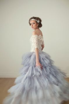Blue tulle skirted lace top wedding gown by Jaime Elyse Lace Top Wedding Gowns, Blue Tulle Skirt, Spring 2014, Flower Girl Dresses, Couture, Skirts, Design, Fashion, Moda