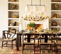 Buffets and shelves are dining room storage that will add a stylish feel to your fine dining at home. So, whatever your dining room storage is, here is a stylish rustic inspiration for it. Dining Room Fireplace, Dining Room Walls, Dining Room Design, Dining Room Furniture, Fireplace Mantle, Room Chairs, Furniture Sets, Furniture Design, Cottage Dining Rooms