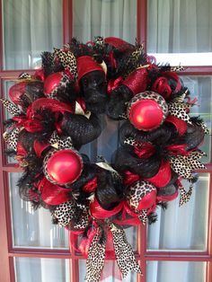 Red and Black Animal Print Deco Mesh Door Wreath by CrazyboutDeco, $89.00