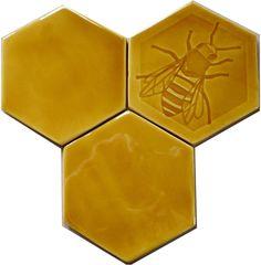 Honey Bee Hexagonal Tile in Honey Yellow glaze