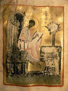 Evangelist Lukas Illuminated Manuscript, Religious Art, Byzantine, Religion, Miniatures, Icons, Paintings, Illustration, Image