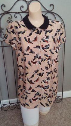 VAN HEUSEN Women's Shrt/Slv Blouse VNTG-LOOK Birds Lace Collar EUC Sz Large #VanHeusen #Blouse #many