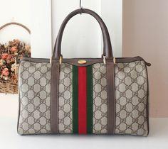 Gucci Bag Vintage Monogram Boston tote handbag purse by hfvin on Etsy
