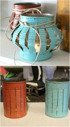 Yes, you can buy stunning lanterns and lamps online. But how about trying to make some DIY lanterns this time. It will help to give a nice personal touch to your decoration. home diy 13 DIY Lanterns To Light Up Your Outdoor Space : Home Decor Projects Tin Can Crafts, Diy And Crafts, Arts And Crafts, Upcycled Crafts, Crafts With Tin Cans, Upcycled Garden, Décor Crafts, Yard Art Crafts, Diy Crafts For Adults