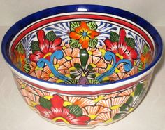 Mexican Pottery - Beautiful Talavera Bowl-Small