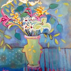 """Lilies on Blue"", 30x30, oil on canvas by Santa Fe, NM painter Annie O'Brien Gonzales"