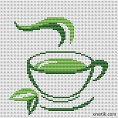 Tea Food and beverages Monochrome Scheme for embroidery scheme for cross stitch Cat Cross Stitches, Cross Stitch Bookmarks, Cross Stitch Cards, Cross Stitch Borders, Cross Stitch Designs, Cross Stitching, Cross Stitch Embroidery, Embroidery Patterns, Cross Stitch Patterns
