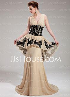 Evening Dresses - $152.99 - A-Line/Princess V-neck Sweep Train Chiffon Evening Dress With Ruffle Lace Beading Sequins (017019759) http://jjshouse.com/A-Line-Princess-V-Neck-Sweep-Train-Chiffon-Evening-Dress-With-Ruffle-Lace-Beading-Sequins-017019759-g19759