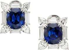 Sapphire, Diamond, Platinum Earrings.