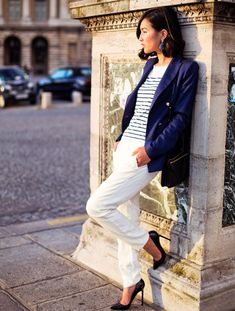 navy blazer with striped top and white pants