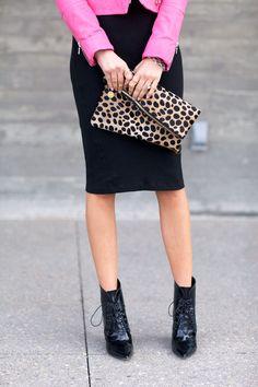 black skirt, pink jacket, leopard enevlope, lace-up-booties