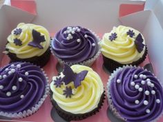 Purple butterfly cupcakes