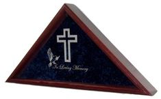 This Flag Case is constructed with the highest quality solid oak, walnut, cherry, or mahogany.   It features a double strength glass front that is laser engraved, allowing you to create a unique heirloom that can be passed on for generations to come.  Our Current religious symbols include your choice of a flag case engraved with a Cross and Dove (pictured), Crescent Moon with Star, Star of David, and Praying Hands.