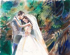 This is a custom watercolor painting I did for a customer as a first anniversary, wedding gift for the traditional paper gift idea! The buyer contacted me about doing a custom wedding painting to give as a gift to their loved one, and I had the privilege of painting for them!  I will work on commission, so if you have a photo from your own wedding day that you would like painted, email me the photo or photos and I would LOVE to paint it for you! This would make a special and personal gift…