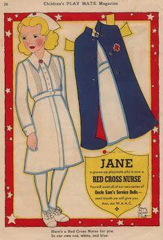 Kathleen Taylor's Dakota Dreams: Thursday Tab- Children's Playmate Military Women by Fern Bissel Peat:  Jane the Red Cross Nurse