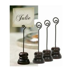 Small Spiral Place Card Holder ~Box of 4 ~ Rustic Brown $13.99