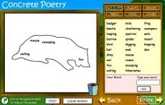 This is a clever visual poetry tool for young children where you can draw an outline and place words inside.