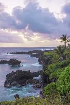 "After surviving the ""Road to #Hana"", catch a #sunrise like this at #Keawaiki Bay in Waianapanapa State Park, #Maui, #Hawaii. Starting at $27. #photography #photo #picsart #travel #photog #nature #landscape #travelphotography #nikon"