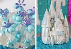 Make purple snowflakes cutouts and put with blue shimmer gumballs.