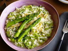 Risotto with Asparagus: Serve comforting risotto with this veggie for a satisfying spring dinner.