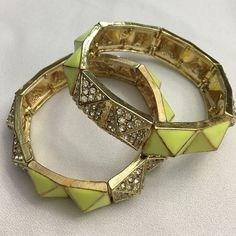 💥SALE 💥Gorgeous Yellow Crystal Pyramid  Bracelet Yellow pyramid bracelet.  Make way for the sunshine! 🌞 Materials: plated base metals, glass crystals, resin. Nickel free, Lead free. Made in China. Stretch bracelet. Beautiful!  MSRP: $32. T&J Designs Jewelry Bracelets