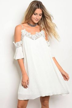 $23 - Ladies 3/4 Sleeve Skater Dress With Lace Trim Along The Neckline And Sleeves, With Cold Shoulders.