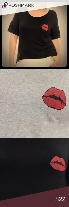 Hot lips top Tee shirt Plus sizes in gray& black Plus size tee shirt top in soft stretchy material. Choose from black or gray. Hot lips! So cute!! Have some fun in your fashion! Bellino Clothing Tops Tees - Short Sleeve