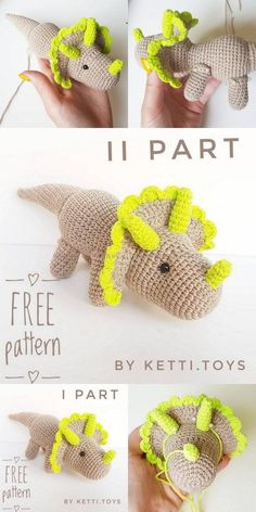 Amigurumi Triceratops Dinosaur free crochet pattern, This article is waiting for you. We always keep you up to date with amigurumi organic toy patterns. Crochet Unique, Crochet Simple, Cute Crochet, Crochet Crafts, Crochet Projects, Crochet Ideas, Crochet Dinosaur Patterns, Crochet Amigurumi Free Patterns, Crochet Dolls