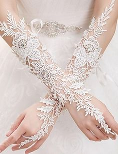 Lace Fingerless Elbow Length Bridal Gloves With Rhinestones