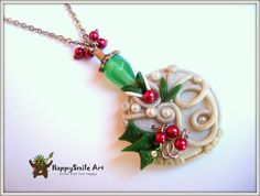 ON SALE Polymer Clay Jewelry Christmas Handamde Necklace Pendant Unique Gift For Her