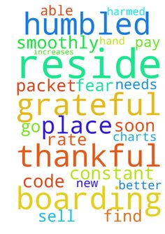 God, I am thankful, grateful and humbled that my boarding - God, I am thankful, grateful and humbled that my boarding packet was signed off on. God please guide the hand of the person who needs to code it and put it in my charts so that I can get the steps increases. Please God let it all go smoothly and let me get the new pay rate. Please God let me be able to sell my place soon and find a better, cheaper place to reside in. I am in constant fear of being harmed where I reside. In Jesus…