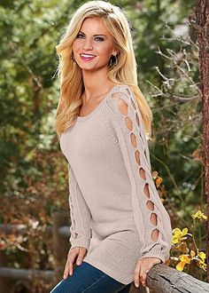This sweater is easy breezy! Venus sleeve detail tunic sweater.