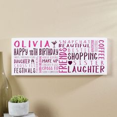 Birthday Gift for Girls of Personalised Panoramic Word Art – Presents for girls 18th Birthday Gifts For Girls, Birthday Presents For Her, Presents For Girls, 60th Birthday Gifts, 16th Birthday, Birthday Gift Picture, Picture Gifts, Personalized Birthday Gifts, Personalised Gifts
