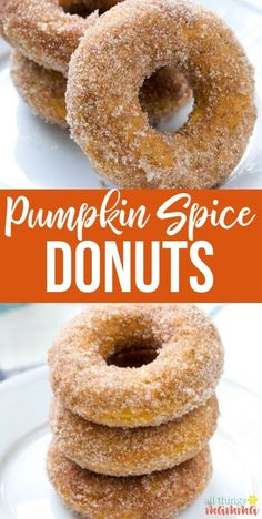 Pumpkin Spice Donuts - All Things Mamma These Baked Pumpkin Spice Donuts, topped with cinnamon-sugar, are the ultimate easy fall dessert! Baked Donut Recipes, Baked Doughnuts, Baked Pumpkin Spice Donut Recipe, Pumkin Donuts, Donut Maker Recipes, Donuts Donuts, Pumpkin Spice Cookies, Pumpkin Cinnamon Rolls, Apple Cider Donuts