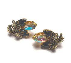 AB and Black Rhinestone Earrings Star Flower Overlay Juliana D & E Vintage