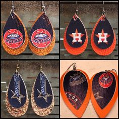 Excited to share this item from my shop: Vintage Houston Astros Faux Leather Earrings Moon Earrings, Diy Earrings, Tassel Earrings, Diy Leather Earrings, Leather Jewelry, Custom Jewelry, Handmade Jewelry, Leather Projects, Leather Crafts