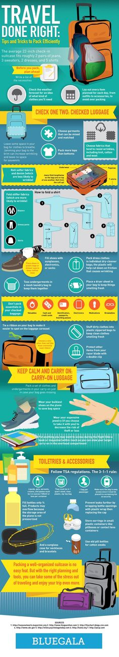 Travel Done Right: Tips And Tricks To Pack Efficiently #infographic #Travel #Packing #TravelTips