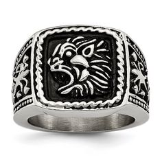 Roy Rose Jewelry Stainless Steel Antiqued Lion Ring ~ Size 9 #antiquejewelry