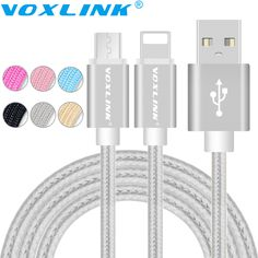 Voxlink USB Cables for iphone 6S 5s Micro USB Data Cable For iphone 6 Plus Samsung S7 S6 Edge Plus S5 Braided Metal Fast Charge <3 Detailed information can be found by clicking on the VISIT button