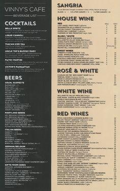 Vinnys_Wine_List Resturant Menu, Restaurant Menu Design, Drink Menu Design, Coffee Shop Menu, White Zinfandel, Menu List, Drink List, Wine Cocktails, Bar Menu