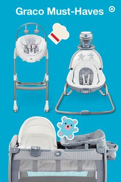 Graco makes life with a baby easier through innovation and trusted quality. This trio of helpful products, in gender-neutral gray Davis material, is perfect for your Target Baby Registry. The Pack 'n Play play yard is great for your baby to sit, play and sleep. The Duet Oasis swing syncs sound and vibration for perfect soothing—think the hum and vibration of car rides! And, the Sous Chef convertible highchair adjusts as your child grows, transitioning from highchair to booster seat. Perfect.