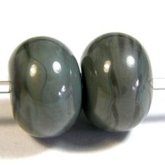Opaque Grigio Verde Gray Handmade Lampwork Glass Beads 855 Shiny (Choices of Etched, .999 Fine Silver, Shapes, Sizes, Large Hole Beads Extra) These gorgeous beads are made using glossy opaque grigio verde, a gray green glass.  These handmade glass beads are creamy and rich in texture.  These look like beautiful jewels whether shiny or etched! @covergirlbeads #bmecountdown