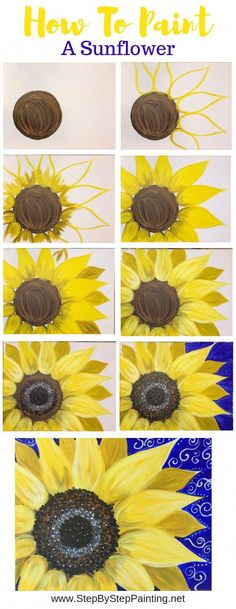 Drawings How To Paint A Sunflower - Step By Step Painting - Tutorial - Learn how to paint a sunflower with acrylics on canvas. Beginners guide to painting a large yellow sunflower on canvas. Instructions and video included. Cute Canvas Paintings, Easy Canvas Painting, Diy Canvas, Diy Painting, Painting & Drawing, Acrylic Canvas, Canvas Canvas, Beginner Painting, Easy Flower Painting