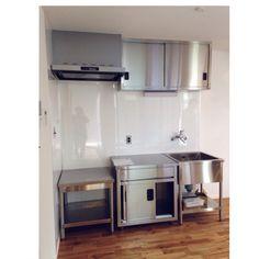 yuccoさんの、新築,引き渡し前,狭小住宅,業務用キッチン,2階リビング,ステンレス,ステンレスキッチン,キッチン,のお部屋写真
